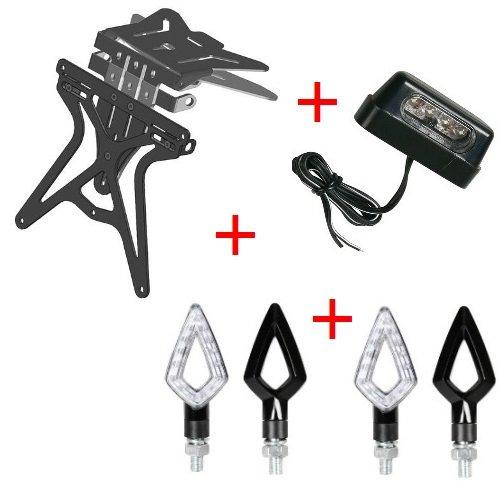 Kit für Motorrad Kennzeichenhalter UNIVERSAL + 2Paar Blinker + Kennzeichenbeleuchtung Lampa Moto Guzzi Nevada 750Adler schwarz 2009-2017 (Adler Kennzeichenhalter)
