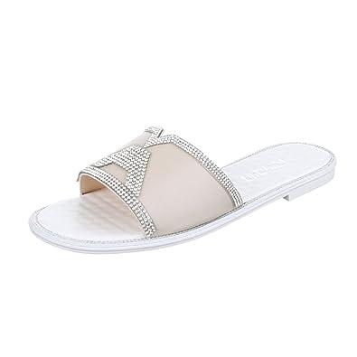 Ital-Design Pantoletten Damen Schuhe Jazz & Modern Blockabsatz Strass Besetzte Sandalen/Sandaletten Weiß, Gr 40, Fc16-Q63-