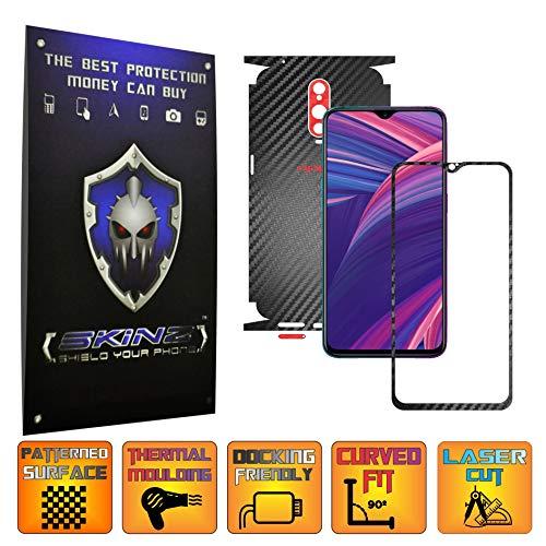 X-Skinz, Full Body Two Tone Schwarz/Rot Carbon Skin Schutzfolie für Oppo RX17 Pro - Displayrahmen + Rückseite Case Cover Hülle Sticker, Vinyl Wrap Aufkleber Panzerfolie - Dark Vinyl-akzenten