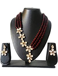 Catalyst Exclusive Designer Collection Stylish Faux Pearl Necklace Jewellery Set With Earrings For Women