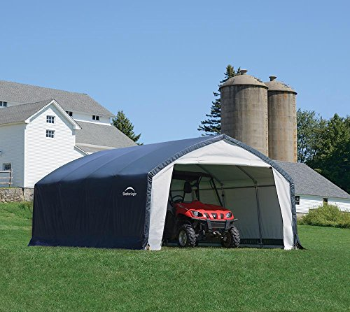 ShelterLogic Foliengerätehaus in-a-Box, Foliengarage, Gerätehaus 22,57m² grau // 366x610x274 cm (BxTxH) // Autozelt u. Allzweckgarage