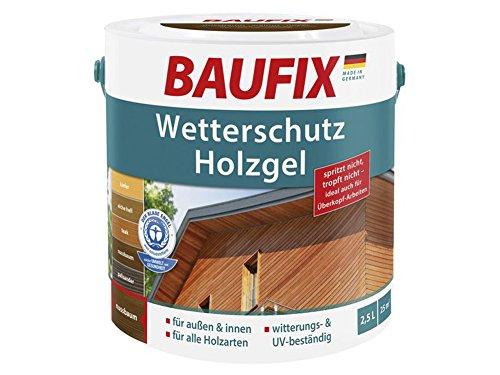 Baufix Wetterschutz Holzgel 2,5L für innen & außen Holzschutz (Nussbaum)