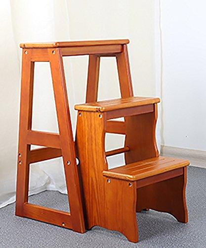 ZEMIN Klappleiter Hölzerne Stühle Convenience Concepts Bücherregal Ladder Faltbare dreistufige, weiße, Leichte Walnuss Braun und Tiefe Walnuss Braun -