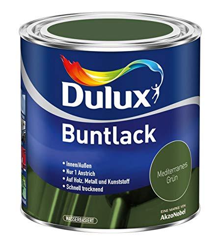 Dulux Buntlack Glänzend Wasserbasiert für Innen/Außen auf Holz, Metall und Kunststoff (750 ml, Mediterranes Grün)