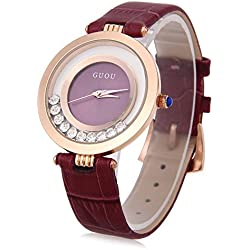 Leopard Shop GUOU 8039 Female Quartz Watch Rolling Artificial Diamond Genuine Leather Band Wristwatch Water Resistance Purple
