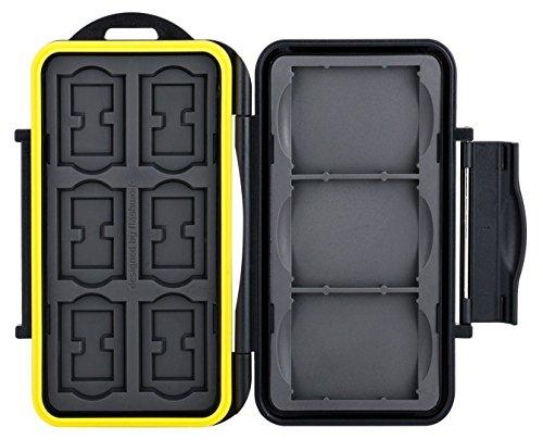 Flashwoife Turtle-SD6CF3MSD12 spritzwasserdichte Speicherkarten Schutzbox für 3X CF, 6X SDHC und 12x MicroSD patentierte Aufnahme, Cards Case in schwarz/gelb