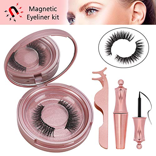 Winpok Magnetische Wimpern, Magnetic Eyeliner Und Magnetic Eyelashes Set, 3D Magnetische Wimpern Mit Wasserdichtem Langlebigem Magnetische Eyeliner, Wiederverwendbare Falsche Magnetic Eyelashes (Gold)