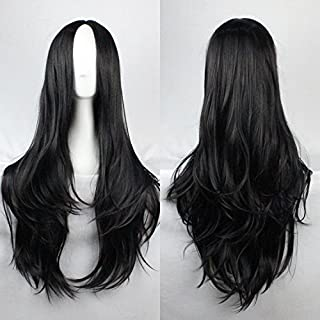 Womens Ladies Girls 75cm Black Color Long Curly High Quality Hair Carve Cosplay Costume Anime Party Bangs Full Sexy Wigs