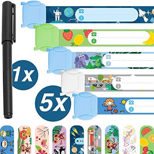 Notfallarmband Set für Kinder · 5 Stück + Stift · Sicherheitsarmband · Wasserfest · Wiederverwendbar · SOS Armband · Jungs · Tampen Kinder (Kinder Namensschilder Für)
