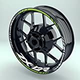 Felgenaufkleber Set Kawasaki ZX 12 R für Motorrad   17 Zoll   Felgenrandaufkleber & Felgenbettaufkleber   Vorder- & Hinterreifen Komplett-Set (Doppelt - matt)