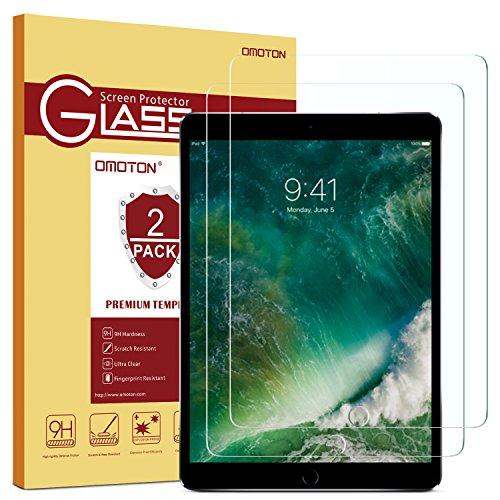 OMOTON [Lot de 2] New iPad 2018/ iPad 2017/iPad Air/iPad Pro 9.7 Film Protection Verre Trempé, Protecteur Ecran (9H, sans Bulles, Transparent)