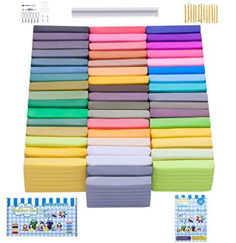 Polymer Clay Modelliermasse, 50 Farben, 27 Modelle Kreationen Bücher und Acryl Tube Roller, Ofen backen Weiche DIY Lehm Moulding Craft, Safe und ungiftig Modellierung Set und Werkzeuge