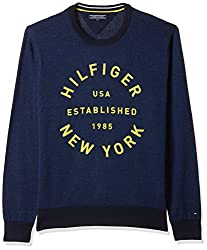 Tommy Hilfiger Mens Cotton Sweaters (8907504645466_A7AMS112_Medium_Blue Depths Htr)