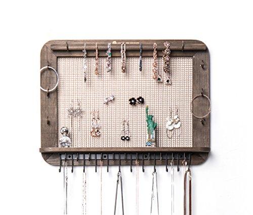 JackCubeDesign an der Wand befestigte hölzerne Schmuck-Organisator-Designer machte Kosmetik-Speicher-Regal w / Halskette Regal-Ohrringe Halter-Behälter mit 23 Haken für Halsketten-Armband -: MK399A