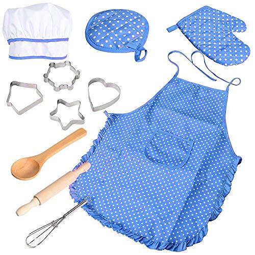 Chef gioco di ruolo set con vestiti e accessori per la cucina, kids pretend gioca 11 pezzi di giocattoli set, per gioco di ruolo per bambini di ruolo di gioco da bambini (blu)