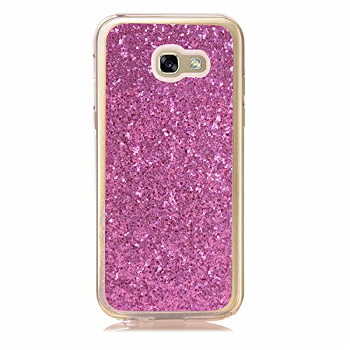 Paillette Coque Housse Etui pour Galaxy A3 2017, Galaxy A3 2017 Coque en Silicone Bling Housse Etui Gel Slim Case Soft Gel Cover, Ukayfe Or Rose Coque Etui de Protection Cas en caoutchouc en Ultra Sli Bling rose