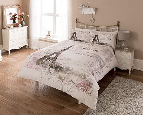 Craze London Paris Bettwäsche-Set, Polyester, Baumwolle, Bettbezug-Set mit Kissenbezügen, Einzelbett, Doppelbett, Super-King-Size-Größe, Paris Panel, Einzelbett