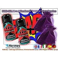 Spray per l'identificazione di criminali, spray per autodifesa, confezione da 2,con 2sacchetti viola per il trasporto, realizzati a mano
