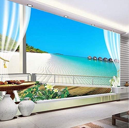 Rureng Custom 3D Photo Wallpaper Murales Maldives 3D Ventana Estereoscópica Balcón Playa Vista Al Mar Telón De Fondo Mural De Pared Papel Tapiz No Tejido-200X140Cm