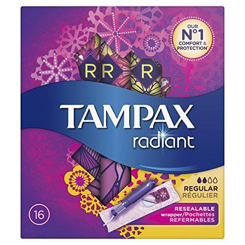 Tampax Radiant regelmäßigen Tampons mit Applikator 16Beste für Schutz/Diskretion Komfortable-Lot de 3 - Tampax Radiant Tampons