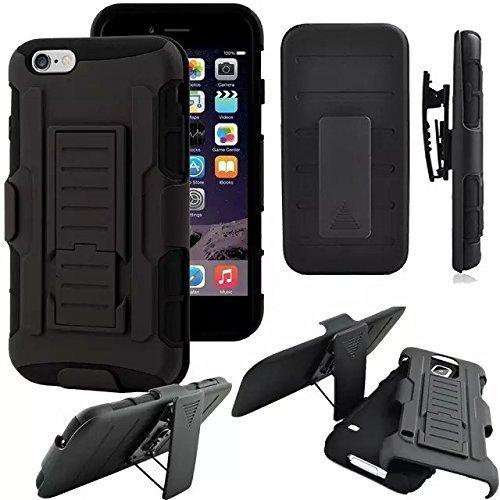 szee Portable Silica Gel Holster Case für Apple iPhone 8(2017)/iPhone 7(2016)/iPhone 6S; Hybrid-Dual-Layer Combo Armor Defender Schutzhülle mit Kickstand + Gürtelclip Holster [Schwarz], iPhone 8 Silica Gel Case