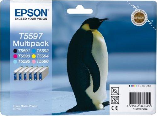 Epson T5597 Multipack Cartouche d'encre d'origine Noir, jaune, cyan, magenta, magenta clair, cyan clair