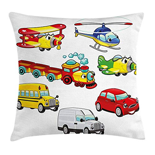 Boy's Room Throw Pillow Cushion Cover, Toys Style Vehicles Car Train Plane Bike Bus Truck Caricature Children Concept, Decorative Square Accent Pillow Case, 18 X 18 inches, Multicolor