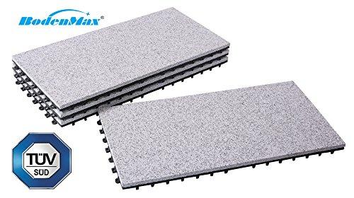 BodenMax® Granit Click Bodenfliesen Set 60 x 30 cm Terassenfliesen Terassenplatte Stein Fliese Klickfliesen grau (4 Stück)