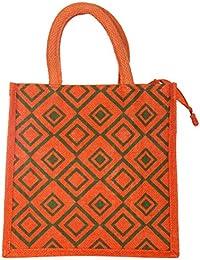 Jutehub Jute Orange Reusable Shopper Bag/Lunch Bag