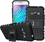 Secro Galaxy J2 Cover Case Flip Kick Stand Spider Dual Rugged Armor Back Case Cover For Samsung Galaxy J2 Sm-J200F - Black (2015 Edition)
