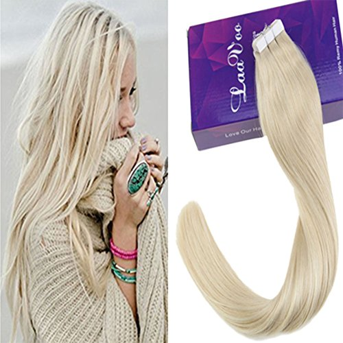 LaaVoo Blond Extensions a Tape 40 cm Naturel Bresilien Skin Weft Adhesif 50g/20pcs Extension Cheveux Adhesive Blond Platine Lisse Boucle