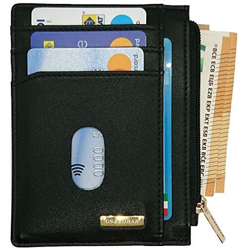 Porta Carte Credito Uomo Pelle Portafoglio Uomo Piccolo Sottile - Mini Porta Tessere Slim Minimalista anche per Donna con Protezione RFID e Tasca Banconote con Zip, Nero, con Confezione Regalo.