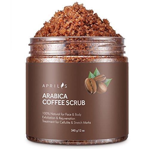 Aprilis Arabica-Kaffee-Peeling, 100% natürliches Peeling/Porenreiniger gegen sonnengeschädigte Haut & Couperose/Rosazea/Besenreiser im Gesicht und blaue Augenringe, 340 g (Blau-peeling Scrubs)