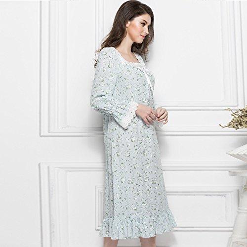 Dhg primavera ed estate palazzo europeo retrò floreale cotone lady camicia da notte manica lunga casual pigiama grande servizio di casa,azzurro,xl