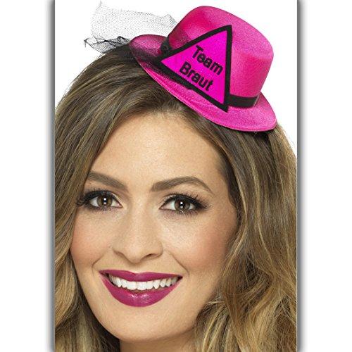NET TOYS Team Braut Hut JGA Fascinator pink-schwarz Minihut Junggesellinnenabschied Hen Party Damenhut