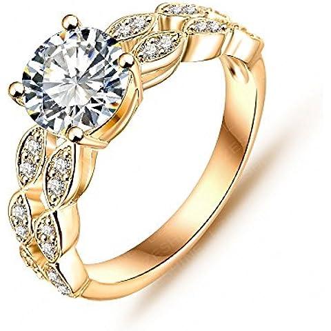 Nusey (TM) 2015 del anillo de la novia del resorte real 18K / plateado platino Micro Pave Claro AAA Zirconia c¨²bico Deseable regalo del anillo