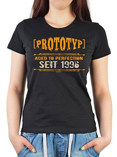 Prototyp Aged To Perfection seit 1996 : Geburtstags/Jahrgangs-Girlie-Shirt/Fun-Shirt/Damen - tolle Geschenkidee Schwarz