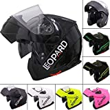 Leopard LEO-838 Safari Modular DOUBLE SUN VISOR Flip up Front Motorbike Motorcycle Helmet #2 Black XL (61-62cm)