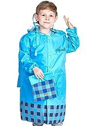 Niños chubasquero con posición de mochila, poncho impermeable con capucha chaqueta de lluvia portátil para niño niña