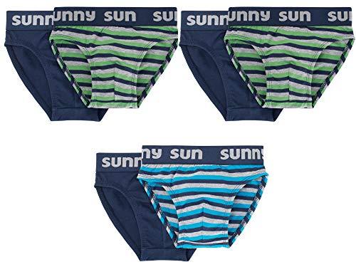 Sammy Sun Jungen Slip,6 Pack,116,Marine/Türkis/Grün