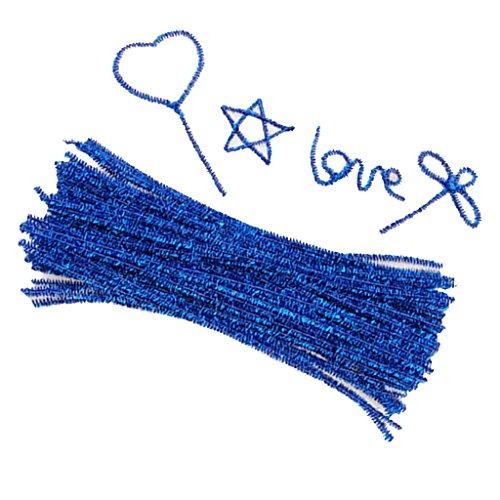 Preisvergleich Produktbild 6 mm x 12 Zoll Pfeifenreiniger Chenille Sparkle Vorbauten Kids Crafts - blau