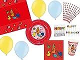 74-tlg. Partyset Die Sendung mit der Maus - für 10 Kinder - Partygeschirr und Zubehör - rot