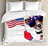 Ambesonne 4th of July Duvet Cover Set Queen Size, Patriotic American Breed Dog - Best Reviews Guide