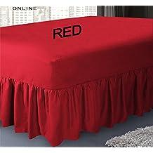 Sábana bajera ajustable cubre canapé de polialgodón para cama, sábana por Mas International Ltd, algodón poliéster, Rojo, suelto