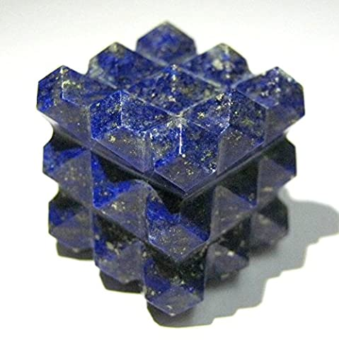 Protective Lapis Lazuli Gemstone Cube Pyramid Bagua Crystal Healing Home Office gift Metaphysical Positve Energy Meditation Reiki Feng Shui Wicca Throat Chakra Spiritual Wisdom peace health