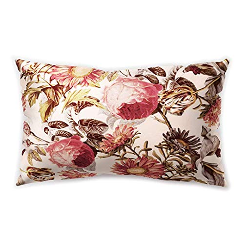 Blakww Nordic Rustic Style Rectangular Cushion Cover Flower Floral Printing Double-Sided Soft Plush Pillowcase 30 x 20 inhces