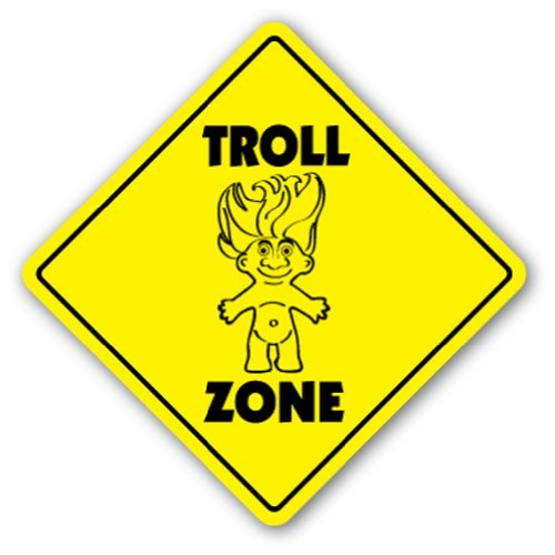 SignMission Troll Crossing Sign Zone Xing |-| 30,5 cm Hoch Mythologie Internet Collection Goth