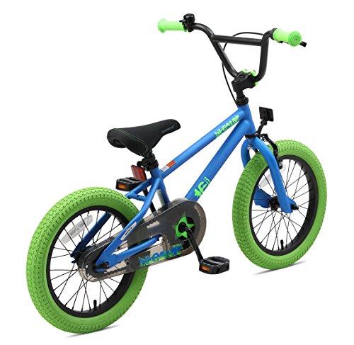 BIKESTAR Bicicletta Bambini 4-5 Anni da 16 Pollici ★ Bici per Bambino et Bambina BMX con Freno a retropedale et Freno a Mano ★ Blu & Verde - 4