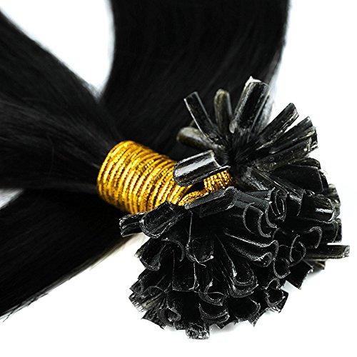 Bonding Extensions Echthaar Remy Haarverlängerung U-Tip 200 Strähnen Keratin Human Hair 100g-50cm(#1 Schwarz)