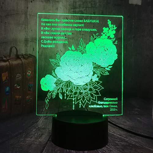 Xiujie Alles Gute Zum Geburtstag Geschenk Russische Beste Segen Liebe Romantische 3D Led Nachtlicht Usb Schreibtisch Schlaflampe Wohnkultur Kinder Weihnachtsgeschenk